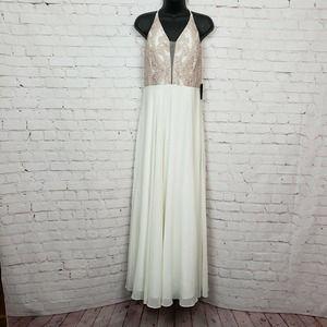 Marina V-Neck Plunge Glitter Mesh Front Slit Dress